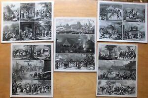 5-Blatt-STAHLSTICH-TAFELN-UM-1850-70-EUROP-KULTUREN-BRAUCHTUM-TRACHTEN-etc