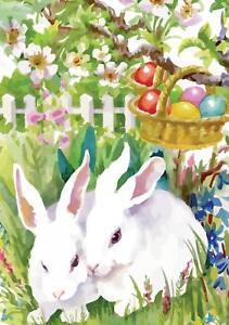 Morigins Easter Rabbit Bunny Colorful Eggs Decor Double