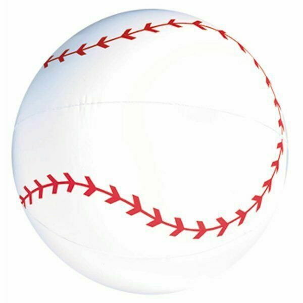 Pool or Indoor Fun Toy Inflatable 20 Inch Baseball Bat in Bright Colors and 9 Inch Baseball Summer