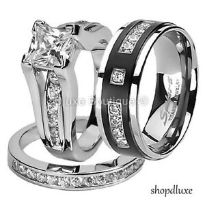 HIS-HERS-3-PIECE-CZ-STAINLESS-STEEL-amp-TITANIUM-WEDDING-ENGAGEMENT-RING-BAND-SET