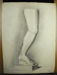 Eugène Cornet dessin XIXe original étude d'une jambe- pied selon l'antique 62 cm
