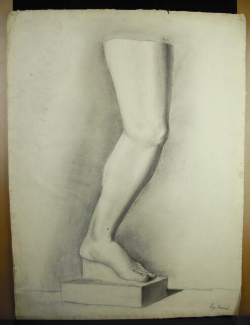 Eugène Cornet dessin XIXe original étude d'une jambe/ pied selon l'antique 62 cm
