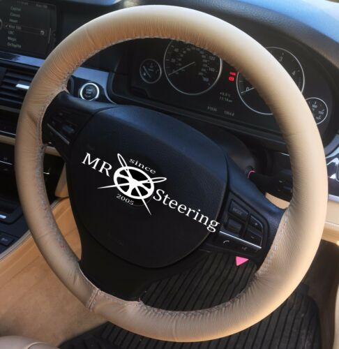 BEIGE LEATHER STEERING WHEEL COVER WHITE DOUBLE STITCH FITS VAUXHALL TIGRA B 04