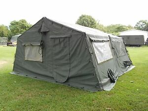 Image is loading MILITARY-16x16-FRAME-TENT-CAMPING-HUNTING-ARMY-VINYL-  sc 1 st  eBay : surplus canvas tents - memphite.com