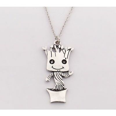 BABY GROOT PENDANT FIGURE NECKLACE SILVER GUARDIANS OF THE GALAXY IN GIFT BAG