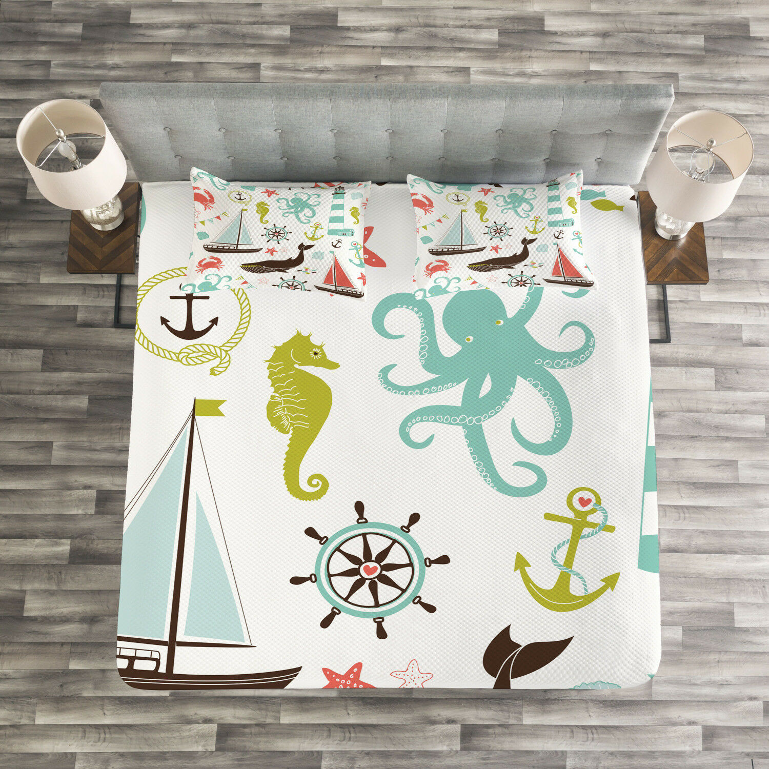Nautical Quilted Bedspread & Pillow Shams Set, Pastel Marine Elements Print
