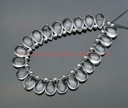 Rock Crystal Smooth Pear Shape Briolettes Loose Gemstone Jewelry Making Supply