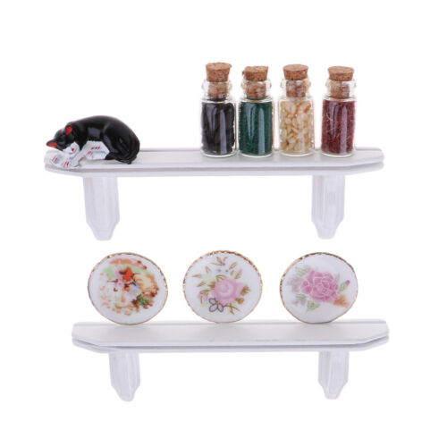 1//12 Scale Dolls House Miniature Wooden Wall Commodity Shelf /& Dishes Decor