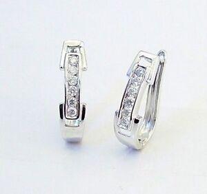 strukturelle Behinderungen fantastische Einsparungen neue Produkte für Details zu 10K White Gold Diamond Hoop Earrings Oblong Diamond Hoops 16mm  .20ct