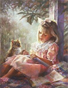 Drawing Closer by Kathryn Fincher SN LE Paper Children Kid Little Girl Kitty Cat