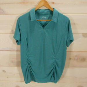 Duluth-Trading-Co-Women-039-s-Sz-L-Polo-Shirt-Top-Tee-Teal-Green-Ruched-Stretch