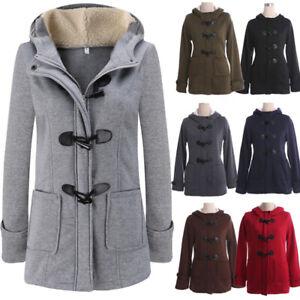 huge discount a7dc1 0bced Details zu Damen Hornschnalle Wintermantel Jacke Fleece Kapuzen Parka  Mantel Outwear 34-80