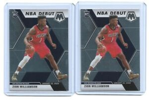 2-card-lot-2019-20-Panini-Mosaic-NBA-Debut-269-Zion-Williamson-Rookie-Pelicans