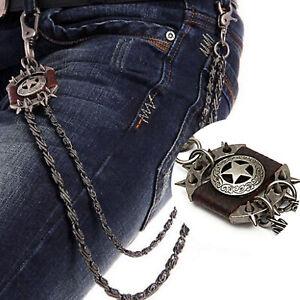 Punk-Metal-Jean-Chain-Men-039-s-Brown-Iron-Star-Wallet-Chain-Biker-Trucker-Chains