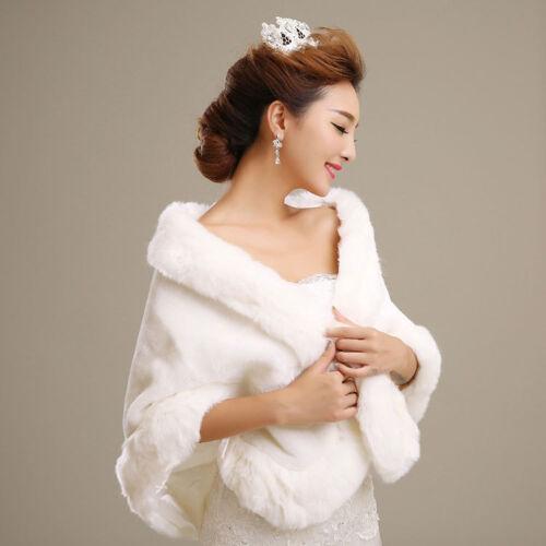 Womens Ladies Wedding Shawl Faux Fur Cashmere Bride Cape Winter Shrug Bolero New