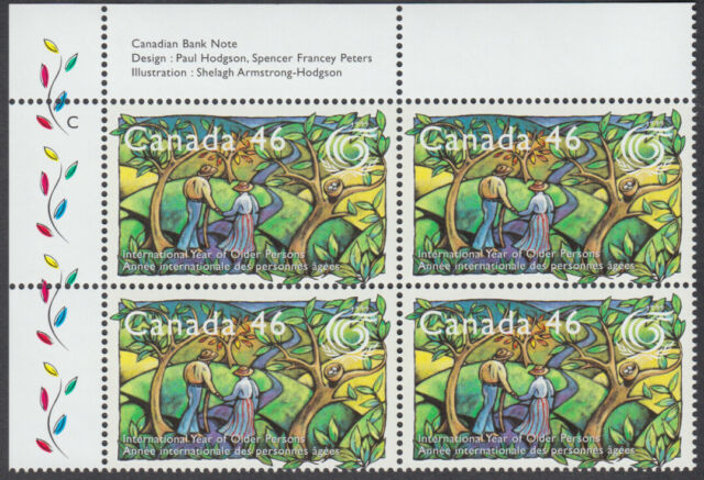 Canada - #1785 International Year Of Older Persons Plate Block - MNH