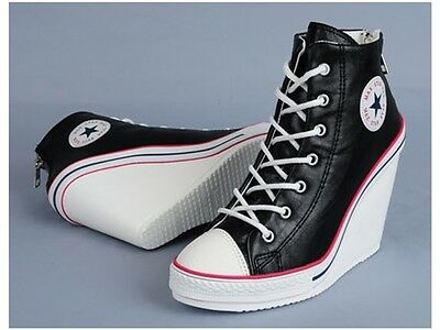 NEW Ladies Women Sneakers Shoes Wedge High Heels Platforms Ankle Boots Laces Zip