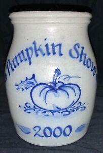 ROWE-POTTERY-BLUE-SALT-GLAZED-STONEWARE-CROCK-PUMPKIN-SHOW-2000