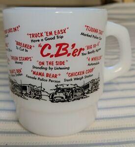Vintage-Anchor-Hocking-Fire-King-C-B-er-Millk-Glass-Mug-USA-D-handle