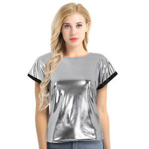 Womens-Wet-Look-T-shirts-Shiny-Short-Sleeves-Tee-Tops-Blouse-Party-Nightclub-New