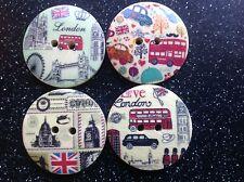 12 Insolita Rotonda in Legno Londra Bus Vintage 30mm pulsanti per libri d'arte & rottami