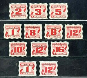 CANADA-J21ss-CENTENNIAL-1967-1978-12-DIFFERENT-MINT-NEVER-HINGED-DUE-STAMPS