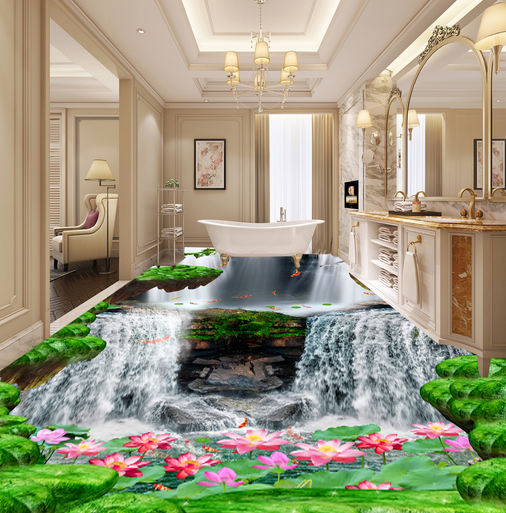 3D Waterfall Fish Lotus 78 Floor WallPaper Murals Wall Print Decal AJ WALLPAPER