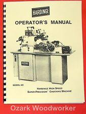 Hardinge Hc Metal Lathe Operators Manual 0339