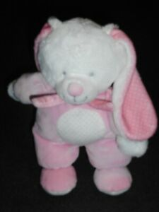 Doudou-Peluche-Lapin-Rose-Blanc-Rond-Blanc-Pois-Rose-Tex-Baby-Carrefour