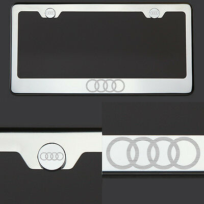 T304 Black Chrome License Plate Frame Stainless Steel Silver Audi Laser Etched