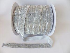 3-metre-length-x-20mm-wide-SILVER-Velvet-Lame-Glitter-Ribbon