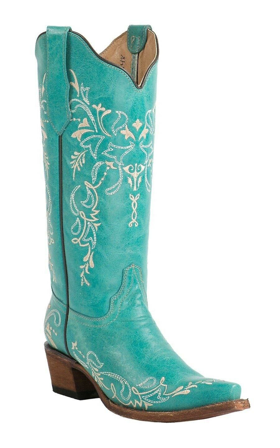 Circle G By Corral Ladies Western Boots Turquoise Beige Embroidery L5148