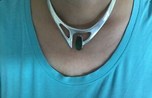 Taxco-Vintage-Necklace-Mexican-Sterling-Silver-and-Malachite-Modernist-Choker