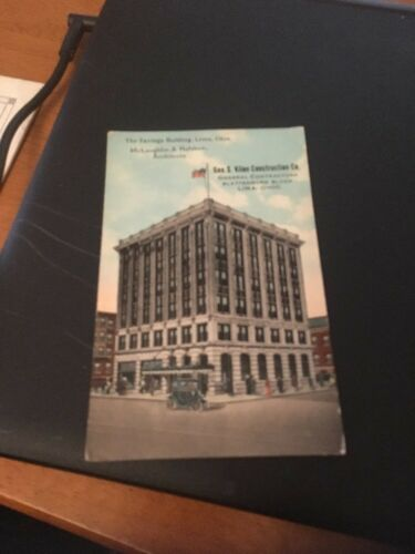 Geo S Kline Construction Vtg Postcard The Savings Building Lima Ohio