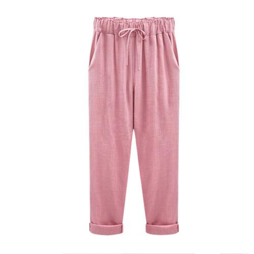 Women Summer Drawstring Harem Casual Cotton Linen Long Pants Trousers Plus Size