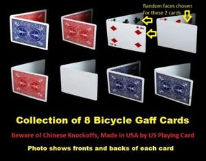 Lot-of-8-Bicycle-Gaff-Playing-Cards-Great-for-Magicians-Magic-Tricks-Closeup