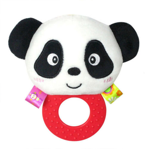 Baby Infant Silicone Teether Teething Ring with Rattle Plush Animal Stuffed Toys