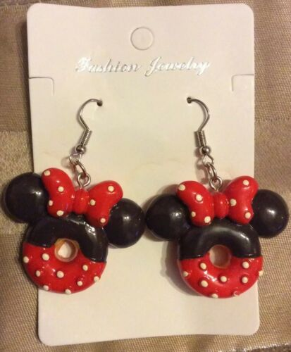 Minnie Mouse inspired doughnut style earrings