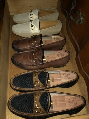 Mens white suede Gucci Horsebit loafers 8.5