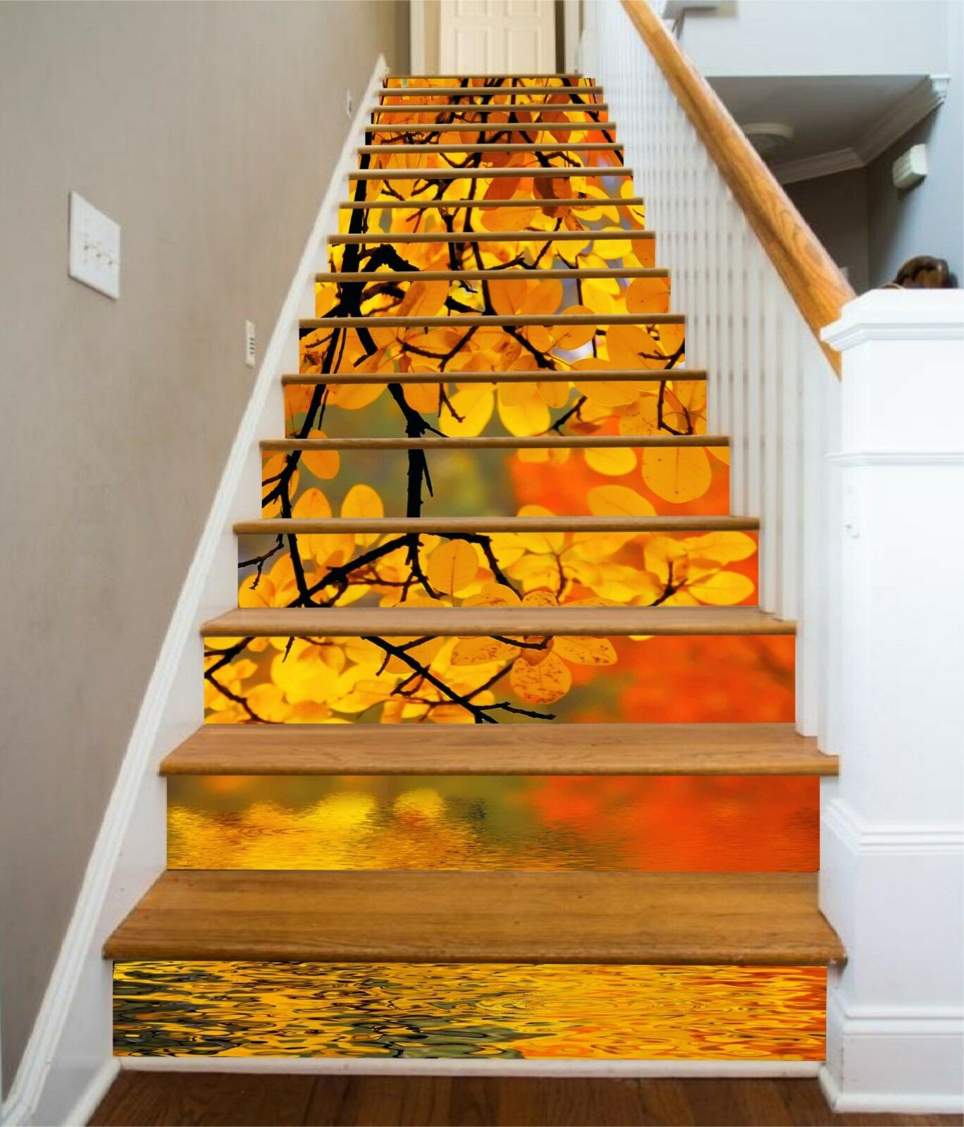 3D Tree Leaves Stair Risers Decoration Photo Mural Vinyl Decal WandPapier CA
