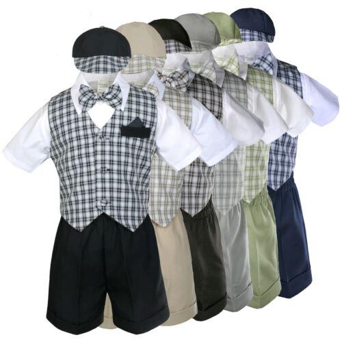 Navy Blue Baby Boy Infant Toddler Formal Party Gingham Shorts Vest Set Suit S-4T