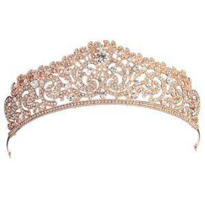 Wedding-Bridal-gold-plated-Crystal-Rhinestone-Pageant-Tiara-Crown-Party-Hea-G7G5