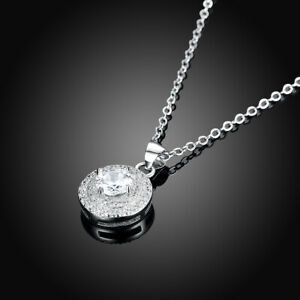 NEW-Halo-Round-Pendant-Sterling-Silver-Necklace-Jewelry
