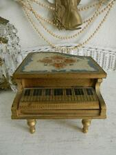 Fabulous Vintage Hand Painted Florentine Wood Musical Piano Shaped Jewelry Box