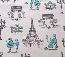 """27"""" C'est La Vie by Ink & Arrow Paris French City Scenes Poodle Teal White"""