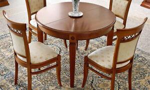 Esstisch Rund Ausziehbar 110 148 Cm Braun Massivholz Stil