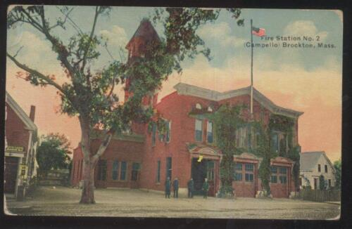 POSTCARD BROCKTON MAMASSACHUSETTS FIRE DEPT STATION #2 CAMPELLO 1907