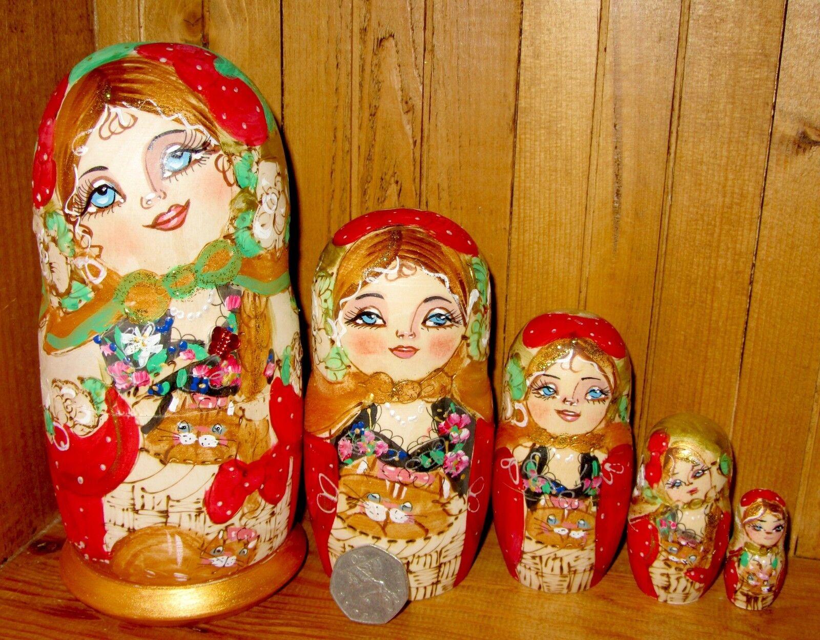Russische Verschachtelung Puppe Matryoshka 5 Teile Brandmalerei Matt Katzen Von