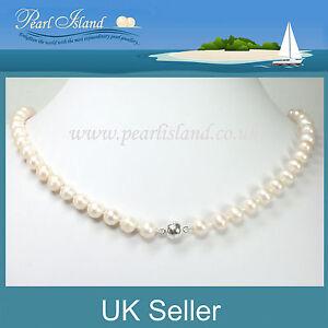 Blanco-Clasico-de-agua-dulce-collar-De-Perlas-Con-Plata-Plateado-Cierre-Magnetico