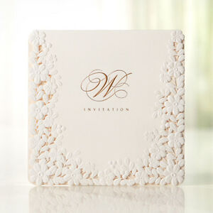 Custom-Embossed-Flower-White-Wedding-Invitations-Laced-Cards-Free-Seals-BH3301